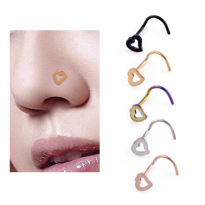 Fashion Stainless Steel Jewelry Heart Nose Stud Screw Ring Bone Pin Bar Piercing