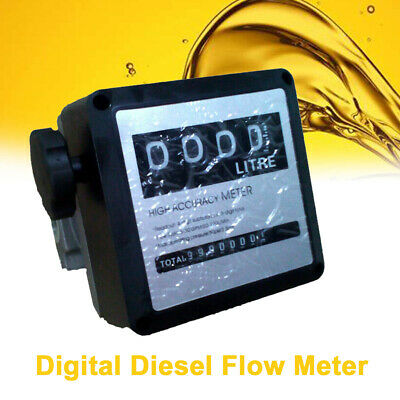 4 Digital FM-120 Diesel Gasoline Fuel Petrol Oil Flow Meter Counter Gauge