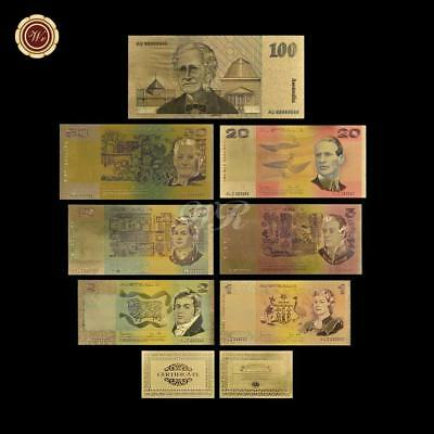 Colorful Australia Gold Banknote Old AUD 1 2 5 10 20 50 100 Banknote Set Acrylic
