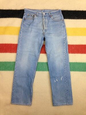 Vintage USA Levi's 501 Button Fly Straight Leg Light Wash Jeans - 33x30 Measured