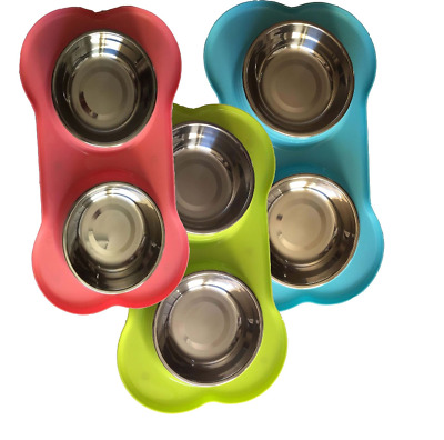 Bone Shape Plastic Non-Slip Tray Stainless Steel Bowls Pet Food Water