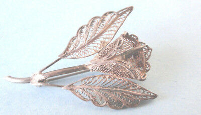 Silver Filigree Brooch, Beautiful Rose Filigree Brooch Vintage