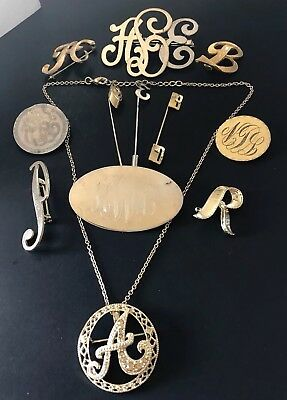 Antique Vintage Lot of Initial Monogram  BROOCHES Necklace STICKPINS 12 Pcs