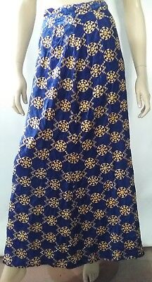 BRODERIE ANGLAISE vintage ladies size 10 skirt blue velvet gold embroidery maxi