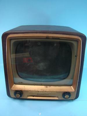 VINTAGE RARE 1950s RAYTHEON CONSOLE TV SET RETRO SPACE AGE GOLD FRONT RED SHELL