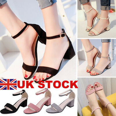 3fca61768cf3 Womens Low Mid Heel Block Peep Toe Ladies Ankle Strap Party Strappy Sandals  3-8