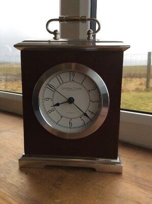 London Clock Company-Quartze-Brown Wood & Silver Metal-Mantel Clock-round Face