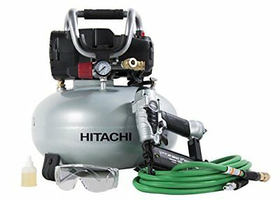 Hitachi KNT50AB Brad Nailer and Compressor Combo Kit 6 Gallon Pancake Air Tan...