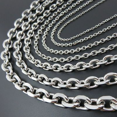 2.5-10mm Mens Women Chain Silver Tone Stainless Steel Rolo Link Necklace 18-36''