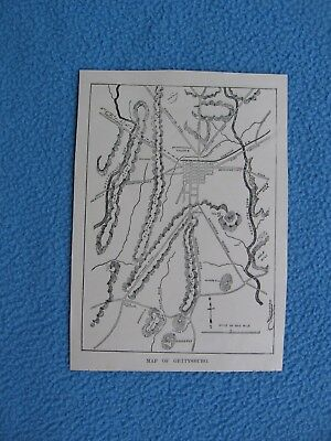 """1890 Civil War Print - """"Map of Gettysburg"""" - FRAME IT FOR A GIFT"""