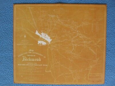 Civil War Map -  The Approaches to the City of Richmond, Virginia - FRAME IT