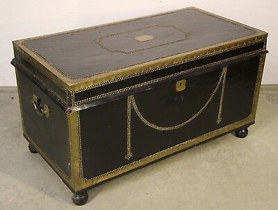 1800's Georgian leather brass camphorwood chest campaign trunk as coffee table
