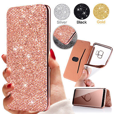 For Samsung Galaxy Note 9 S9 Plus S10 Plus Bling Leather Wallet Card Case Cover