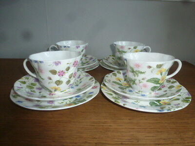 Queens China - Country Meadow Pattern - 12 Pieces - Four Trio`s
