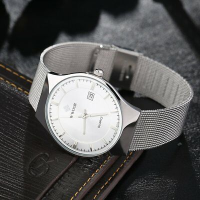 Super Thin Simple Mens Quartz Watches Casual Waterproof Mechanical Watch TE