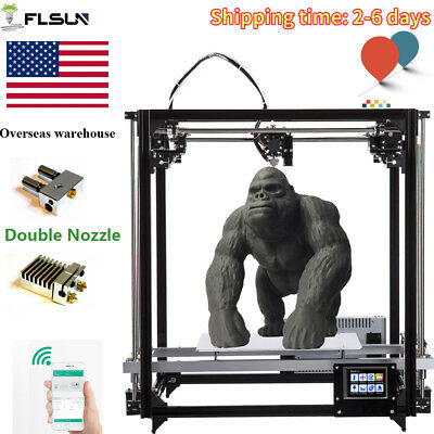 Flsun Dual Extruder Wifi Cube 3D Printer Auto Leveling Touch Screen+US Warehouse