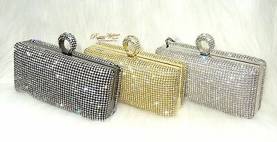 Crystal Classy Gold Silver Black Clutch Party Clutch Evening Cocktail Purse