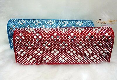 Turquoise Blue Red Clutch Party Evening Cocktail Purse