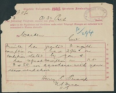 Western Australia Electric Telegraph Telegram from Perth to Cue 8 Mar 5