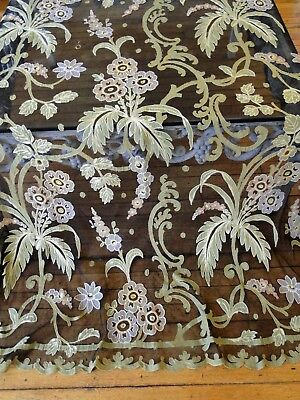 Circa 1880-1900, Lovely Polychrome Tambour Lace Curtain Panel