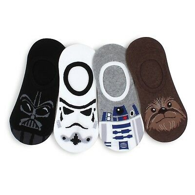 (4 Pairs) Star Wars No Show Socks Men Boys Summer Fashion Darth Vader R2D2 MO14