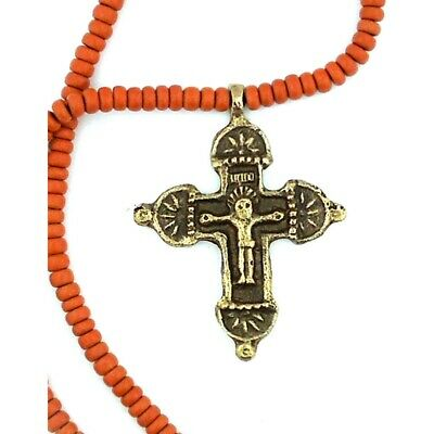 Bronze Cross Crucifix With Beaded Chain - From Ukraine