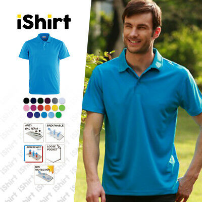 Mens Polo Shirt 100% Polyester Cool Dry Breathable Plain Colour Basic Polo