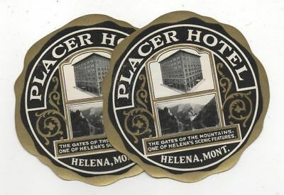 2 Vintage Luggage Labels/Decals PLACER HOTEL, HELENA MONTANA Very Fine Condition