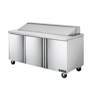 Titan TISU72-18 Sandwich Prep Tables 3 Door 18 Pans 72 inch