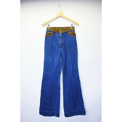 Retro Vintage 70's Levi's High Waisted Bell Bottoms with Corduroy Detail, Hippy