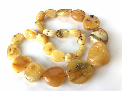 GENUINE NATURAL BALTIC AMBER yellow sea stone jewelry collar necklace 43gr.#40B