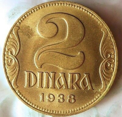 1938 YUGOSLAVIA 2 DINARA - AU - Great Design - Free Ship - BIN #FFF