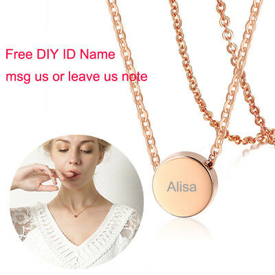 Rose Gold Women Coin Necklace Pendant Chain ID Name Free Engraving Daughter Gift
