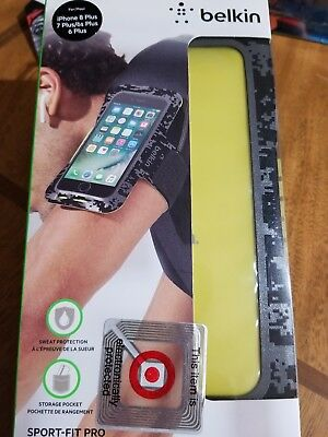 NIB Belkin SportFit Pro Fitness Armband for iPhone 8 Plus/7 Plus/6S Plus/6 Plus