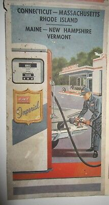 1961 Vintage - Six New England States Road Map - The Atlantic Refining Company