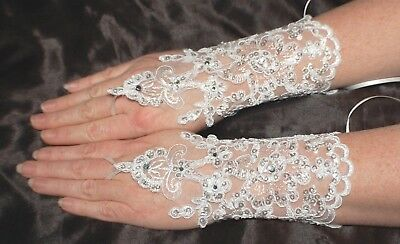 Rhinestone White Fingerless Lace Formal Gloves, Bridal, Prom, Party, Wedding