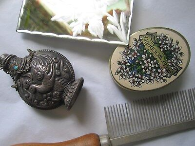 Carved mirror - Gilchrist & Soames old tin - Old wooden comb - Perfume bottle