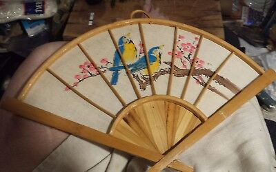 Asian Wall Hanging Fan - Painted Bird & Flowers on Cloth with Bamboo Frame