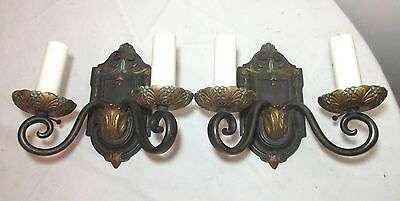 pair of antique ornate patinated bronze gilt 2 arm electric wall sconce fixture