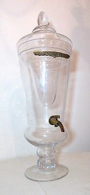 LARGE antique 3pcs glass brass water pitcher industrial apothecary dispenser jar