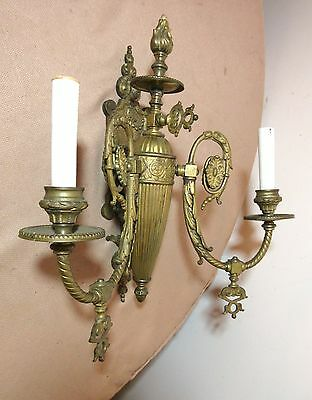 1800's antique Victorian ornate gilt bronze electrified gas wall sconce brass