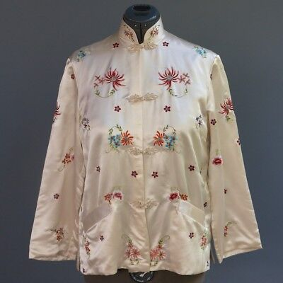 VTG Chinese Plum Blossoms Cream 100% Silk Jacket Colorful Floral Embroidery sz L