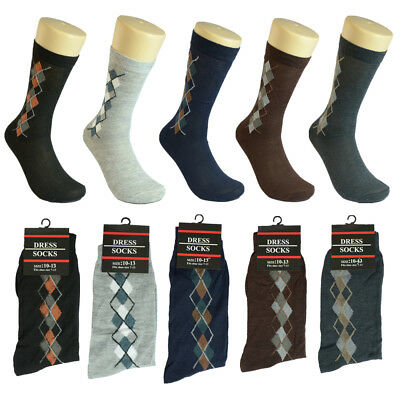 12 pairs Men Multi-Color S-Arygle Cotton Fashion Casual Dress Socks 10-13