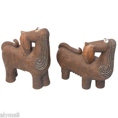 pair vintage signed brown ceramic lifesize male female dogs rough glaze pottery