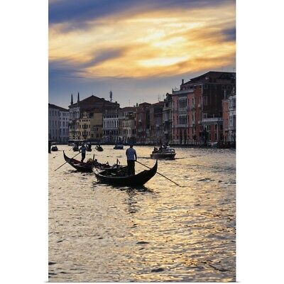 Poster Print Wall Art entitled Grand Canal At Sunset, Venice, Italy