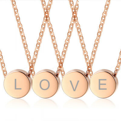 4PC/lot Love Letter Rose Gold Women Girl Coin Necklace Pendant Chain Sister Gift