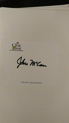 John Mccain Signed Bookplate From Campaign Autographed