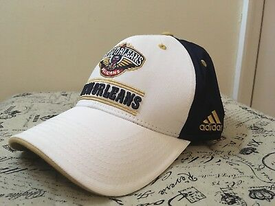 official photos c5129 57547 New Orleans Pelicans Adidas Hat White Blue Gold Basketball NBA Official