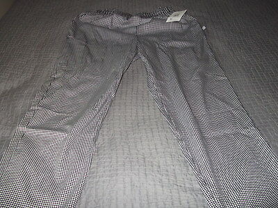 Five star chef apparel mans pants size L houndstooth  white swan