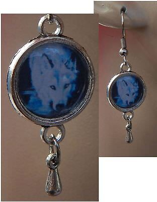 Wolf Earrings White Charm Drop/Dangle Handmade Jewelry Hook Silver NEW Fashion